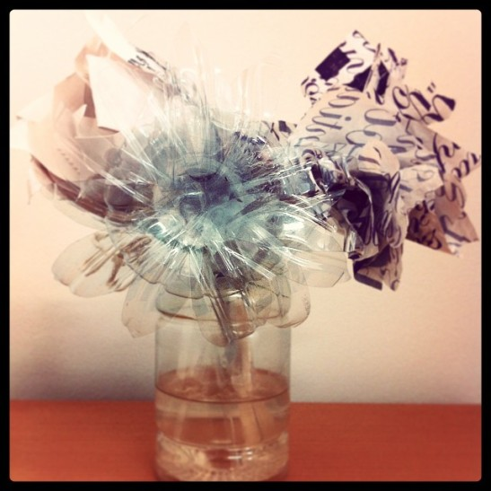 Plastic Flower bouquet, made from waste plastic materials by Victoria Mohr-Blakeney and Erin Saunders.
